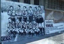 El histórico equipo del Partizán que jugó la final de la Copa de Europa en el recuerdo del arte callejero.
