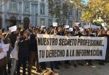 Concentración de periodistas en Madrid ante el Tribunal Supremo el viernes 14 de diciembre de 2018.