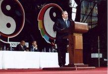 Fidel Castro en Durban, Sudáfrica, en la I Conferencia Mundial contra el Racismo