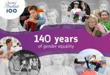 Cartel del Gobierno de Finlandia para conmemorar los 140 años de igualdad de género en el país