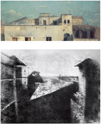 """La primera fotografía de Niepce (1826) y """"Tejados de Nápoles"""" de Thomas Jones (1782)"""