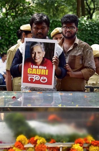 Funeral por Gauri Lankesh y protestas por su asesinato