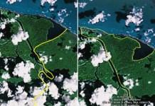Mapa de la frontera entre Costa Rica y Nicaragua de Google Earth usado por Eden Pastora para ubicarse en Isla Portillos en octubre del 2010. A la izquierda, mapa usado que contiene un error, a la derecha, el mapa rectificado por Google Earth a inicios de noviembre del 2010 (ver nota de prensa). Imagen extraída de artículo de prensa.