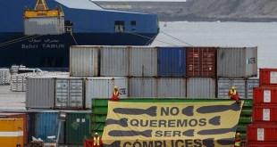 Greenpeace protesta contra la exportación ilegal de armas españolas