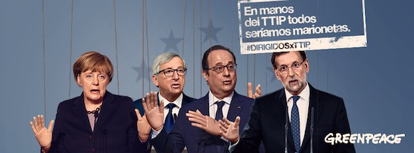 Greenpeace pide a los líderes europeos que no sean marionetas de la industria en las negociaciones del TTIP