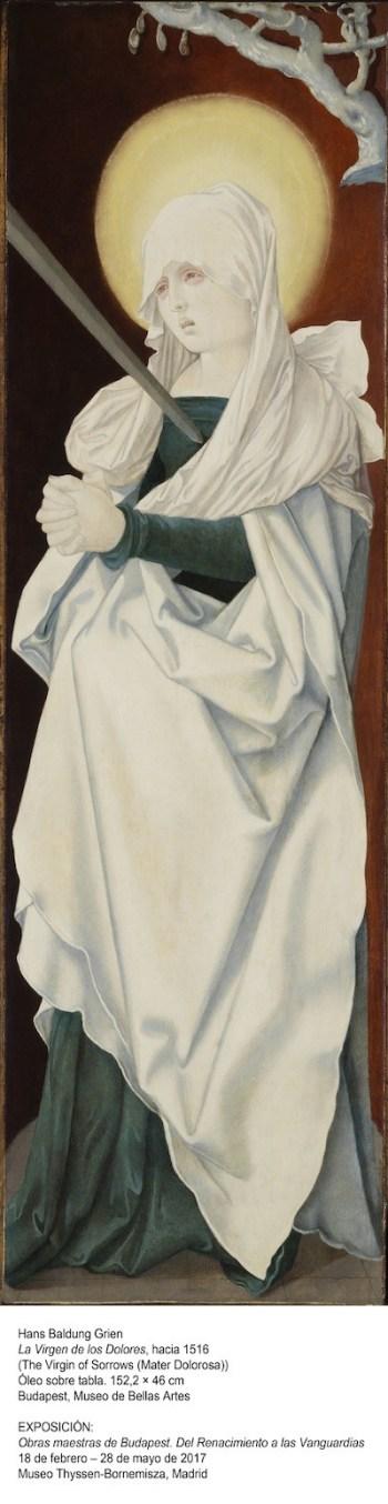 Foto: Hans baldung Grien. La Virgen de los Dolores