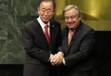 Antonio Guterres con su antecesor Ban Ki-moon, en la ceremonia de asunción de la Secretaría General de la ONU