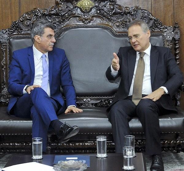 Renan Calheiros y Romero Jucá. Foto: Jane de Araújo/Agência Senado el 19 de mayo de 2016