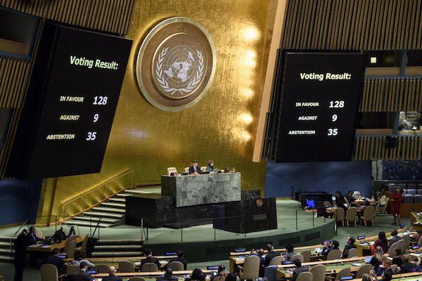Resultado final de la votación sobre el estatus de Jerusalén en la Asamblea General de la ONU. Foto: ONU / Manuel Elías