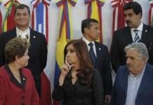 Líderes progresistas latinoamericanos: Rafael Correa, Linera, Nicolás Maduro, Dilma Rousseff, Múgica