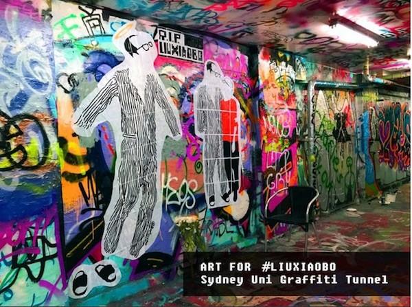 Graffiti de apoyo a Liu Xiaobo en la Universidad de Sydney