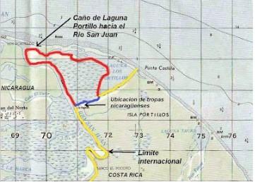 """Figuraindicando ubicación del caño """"Google"""" o Caño """"Pastora"""" excavado por Nicaragua en Isla Portillos en octubre del 2010en azul a partir del error de Google Earth yen rojoel territorio declarado """"en litigio"""" según la CIJ el 8 de marzo del 2011 (figura elaborada por el Dr. Allan Astorga)."""