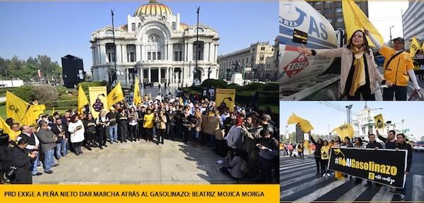 Beatriz Mojica Morga, secretaria general del PRD, en las protestas ciudadanas por el gasolinazo