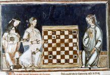 Grabado de dos mujeres musulmanas jugando en el Libro del ajedrez, dados y tablas, de 1283, del rey Alfonso X de Castilla.