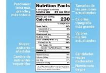 Nueve etiqueta de informacion nutricional