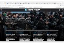 Novaya Gazeta, portada en internet el 15 de abril de 2017