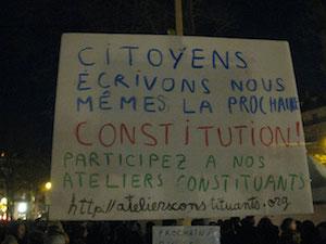 Nuit debout!, carteles en la Plaza de la República de París