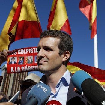 Pablo Casado, vicesecretario general de Comunicación del Partido Popular, en una manifestación para pedir cárcel para los independentistas catalanes.