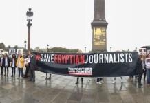 Concentración en París en solidaridad con los periodistas egipcios