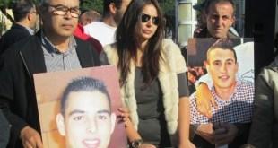 Protestas de familiares y amigos de Abdeslam Ahmed Ali y Mohamed Amin Mohamed Dris. Foto: Telegrama de Melilla