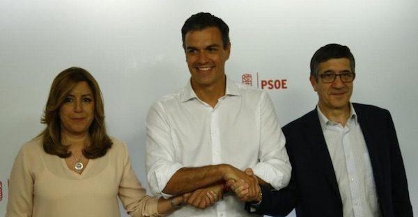 Susana Díaz, Pedro Sánchez y Patxi López en una fotografía de unidad tras conocerse los resultados de las primarias socialistas que otorgan la secretaría general a Sánchez.