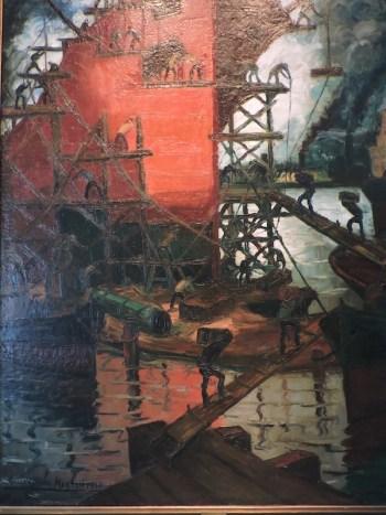 Quinquela Martin, oleo con estibadores del puerto