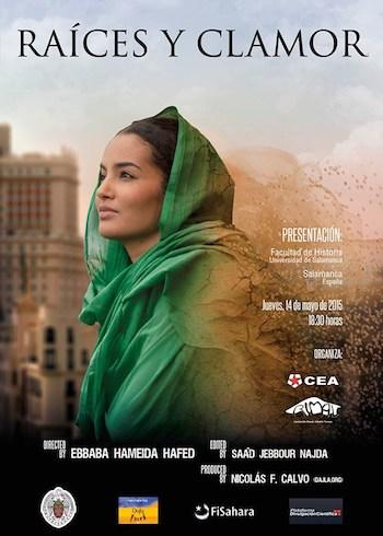 Cartel del documental 'Raíces y clamor' en su presentación en Salamanca, cuya autora es la joven periodista saharaui, Ebbaba Hameida.