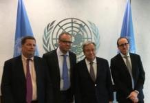 Representantes de RSF, CPJ y WAN-IFRA con António Guterres en la sede de la ONU