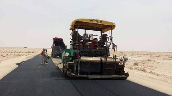 Asfaltado de la carretera de Guerguerat al inicio de las obras, actualmente paradas.