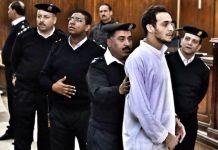 Shawkan ante el Tribunal Penal el 25 de febrero de 2017. Se observa una imagen muy deteriorada, consecuencia de su paso por prisión.