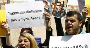 """Ciudadanos sirios piden que EE. UU. """"saque las manos"""" de su país. Foro ANDES / AFP"""