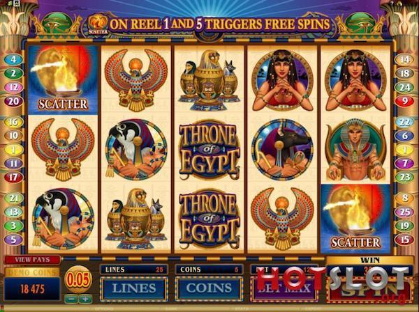 Tragamonedas digital con los logotipos de Trono de Egipto
