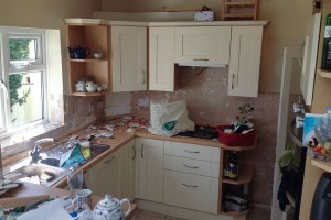 Kitchen with tiles removed 2