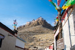 The Gyantse Fort high on the hill.
