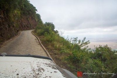 The road out of the Ngorongoro Crater is one of the few paved roads inside the park.