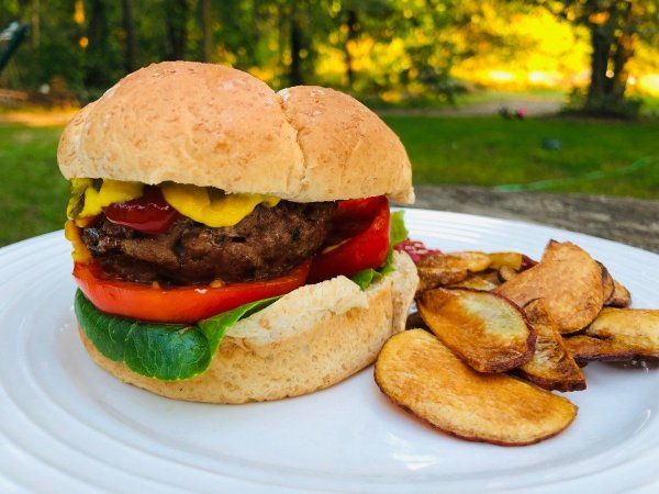 black garlic burger plated