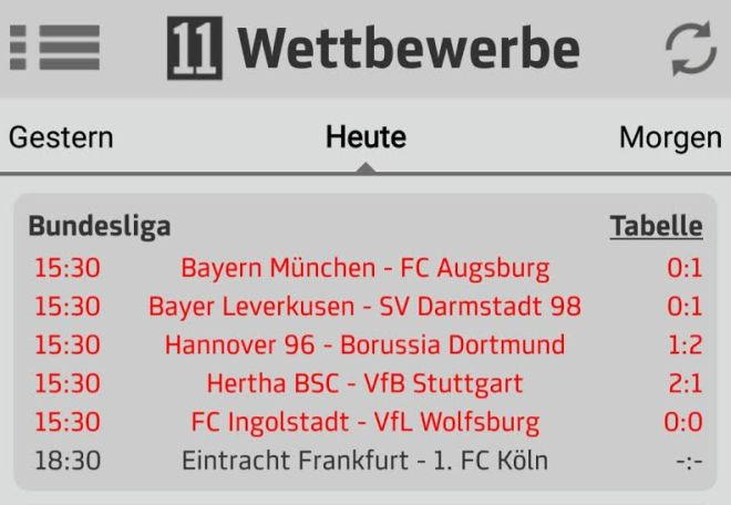 Die Bundesliga-Zwischenstände konnten sich auch sehen lassen (leider haben die Bayern letztendlich doch noch gewonnen...).