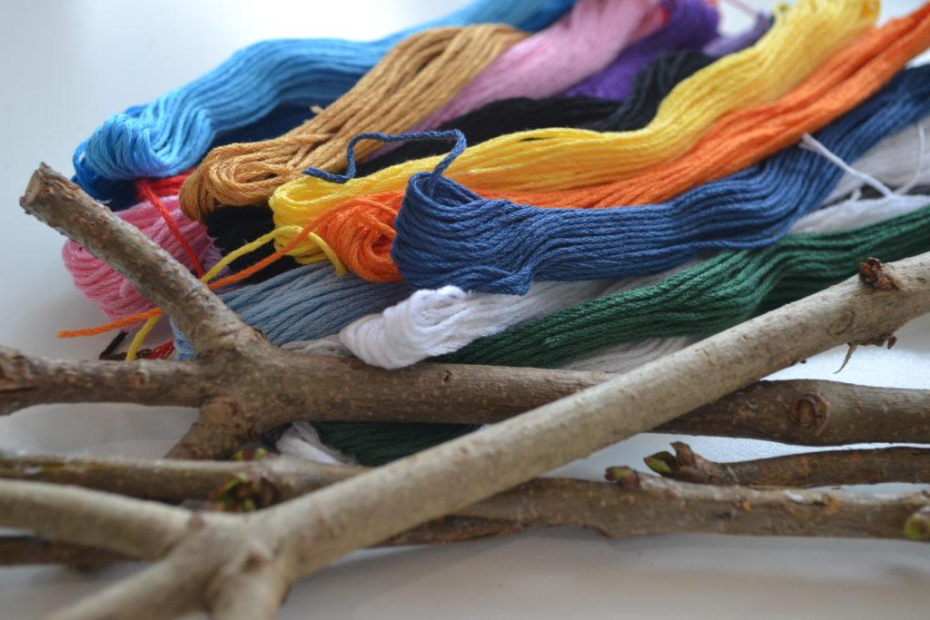Herbst, Deko, DIY, Urban Knitting, Zweige, Perlenmama, Material