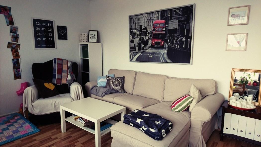 Wochenende in Bildern, WIB, Perlenmama, Wohnzimmer nachher, Ikea Ektorp Sofa, beige, neuer Bezug