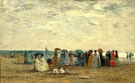Eugène Boudin - Baigneurs sur la plage àTrouville 1869 (Orsay)