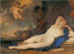 Luca-Giordano - Vénus endormie avec Cupidon et Satyre