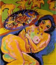 Ernst-Ludwig Kirchner. - Jeune fille à l'ombrelle japonaise - 1906
