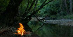 Ognisko nad rzeką w lesie …