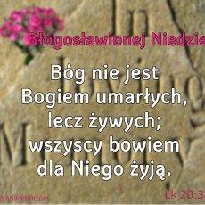 Bóg nie jest Bogiem umarłych, lecz żywych; wszyscy bowiem dla Niego żyją.
