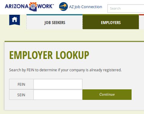SWA Job Order Arizona Employer Registration FEIN SEIN Lookup