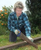 Blitz#8, Trish cut timber stakes for compost cages