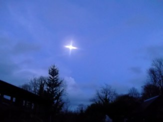 Christmas eve moon above Bealtaine Cottage