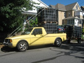 Aquaponic tanks made from used plastic IBC totes. I halled them on the Interstate with my truck.