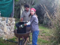 Dave and Maygen dealing with one of the composting toilets