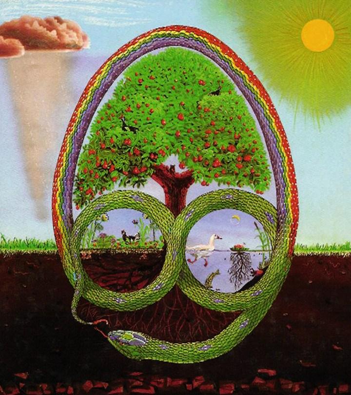 """(English) Wielki owal na rysunku reprezentuje jajo życia; ową niezniszczalną jakość której nie można również stworzyć, a z której wnętrza pochodzą wszystkie żyjące istoty. W obrębie jaja zwinięty jest Tęczowy Wąż, stwórca-demiurg((On jej nie stwarza z niczego ex nihilo jak Bóg chrześcijan tylko ją rzeźbi i modeluje niczym starogrecki Demiurg. patrz: Platon Timajos.)) Ziemi w mitologii rodowitych mieszkańców Australii i Ameryki. Istnieje legenda, która wyjaśnia jak powstały wzgórza, doliny, rzeki, i wszystkie kształty ziemi. Za każdym razem gdy po deszczu widzę piękną tęczę przypomina mi się historia o Tęczowym wężu... Na początku ziemia była płaską, rozległą, szarą równiną. Tęczowy wąż pełznąc znaczył na niej swoją drogę, ruchy jego ciała piętrzyły góry rzeźbiąc rzeczne kanały. Każde pociągnięcie, smagnięcie jego wielokolorowego ciała, tworzyło nową ziemską geologiczną formację. Wreszcie zmęczony wysiłkiem tworzenia ziemi, wpełznął do głębokiej sadzawki. Chłodna woda obmyła jego ciało, chłodząc je i kojąc... Zwierzęta odwiedzające sadzawkę by ugasić w niej pragnienie, podchodziły do niej ostrożnie by nie przeszkadzać Tęczowemu Wężowi, bo chociaż nie były w stanie go zobaczyć - leżał w głębi ukryty - czuły tam jego obecność. Pewnego dnia, po gwałtownej burzy, zobaczyły go. Jego ogromne kolorowe ciało wyginało się łukiem z sadzawki ponad szczyty drzew, przecinając niebo nad równiną, w górę poprzez chmury i dół z powrotem drugim końcem sięgając ziemi hen daleko za horyzontem i znikając tam w innej niewidocznej sadzawce. Rodowici mieszkańcy Australii, Aborygeni, aż do dzisiaj traktują z szacunkiem Tęczowego Węża, kiedy widzą go wyginającego się przez całe niebo z jednego źródła do drugiego..."""" (z książki """"Gulpilil's Stories of the Dreamtime"""", compiled by Hugh Rule and Stuart Goodman, published by William Collins, Sydney, 1979.) W obrębie ciała Tęczowego Węża na rysunku znajduje się Drzewo Życia, które wyraża ogólną tendencje żyjących form do zachowania porządku i budowy"""